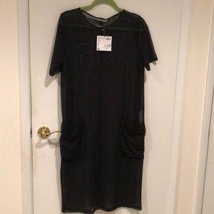 NWT Zara black mesh t-shirt dress pockets size L